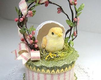 Nested Baby Chick Cake Topper,  Easter Keepsake Box, Gift Box