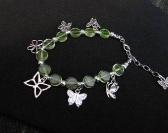 Lime Green Beaded Butterfly Charm Bracelet - Item Number 5195