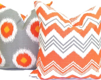 Fall Pillows.FALL PILLOW cover SET. 18X18 inch.Fall Pillow Covers.Fall Decorative Pillows.Fall Pillow Covers. Orange Cushion Covers. Gray