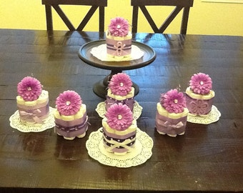 Purple Baby Shower Centerpieces Diaper cakes other sizes and colors too