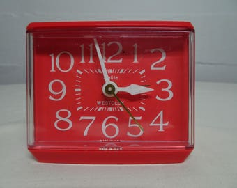 Vintage Westclox Sizzler Red Drowse Dialite Electric Alarm Clock Model 22244 - FREE SHIPPING