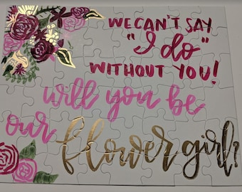 Flower Girl Proposal Puzzle - Handpainted, 3 sizes!