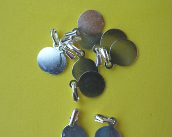 20 Small Disk Bail S/P Silver Plated 8mm Flat Glue On Pad Pendant Cute Tiny Light Weight