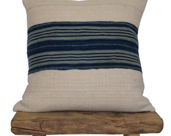 Authentic African Mudcloth with Vintage Indigo Stripe