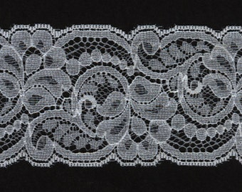 """2"""" wide White flat lace trim 22 yds   (3371)"""