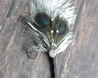 Black Off white Bridal boutonniere Ostrich Feather Bridal Gatsby 1920s groomsmen boutonnire wedding groom feathers boutonniere button hole