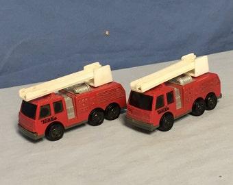 2 Tonka Die-Cast Mini Red Fire Trucks, Ladder Truck
