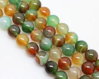 15.5Inch 3 Full Strands Green Agate Round Bead, 6mm 8mm 10mm Size