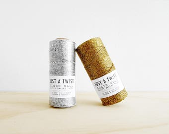 JUST A TWIST Disco Ball / Solid Gold Glitzy Cotton & Metallic Bakers Twine 110 Yards Spool 12 Ply