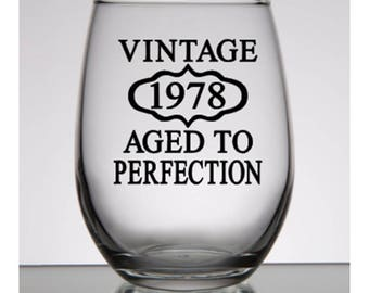 40th Birthday Gift for Women, Vintage 1978, 40th Party Favors, Birthday Rocks Glass, 40th Birthday Gift Man, Personalized Birthday Gift