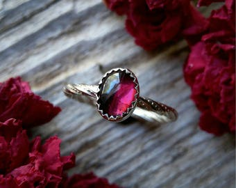 Garnet Ring Size 6.5 Sterling Silver Red Stone Gemstone 925 Jewelry January Birthstone