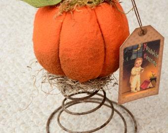 Pumpkin, Folkart Pumpkin, Rustic Pumpkin, Pumpkin on Rusty Spring
