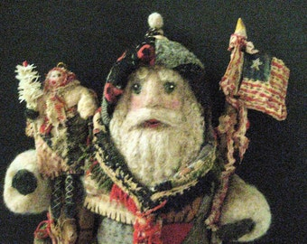 "Santa OOAK Primitive Folk Art -""A Winter Journey Blessed by Angels""-Handcrafted from Olde Quilt & Antique Coverlet in Hand painted box"