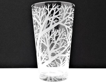 Reaching Branches Pint Glass 16 oz. Engraved Woodland Barware