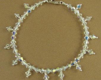 Crystal aurora borealis bracelet. Sterling silver 925. Made w/Swarovski Elements