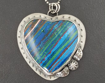 Rainbow Cal Silica Heart Necklace, sterling silver, heart necklace, heart jewelry, valentines day heart, multi color, heart pendant