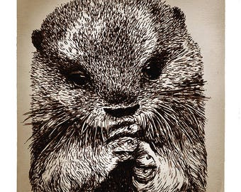 Hand Drawn Otter Print
