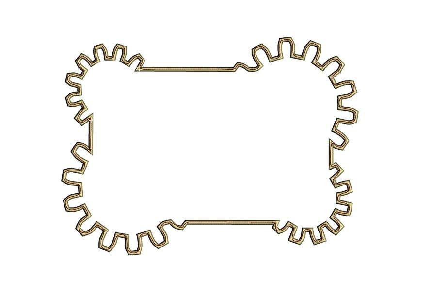 Cog rectangle frame embroidery design. Gear cogwheel 5x7