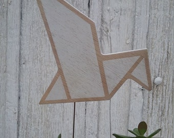 Wood bird origami style for mural decoration or plant decoration