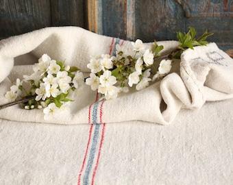 FP 439: Grain Sac,k antique 리넨, lin,CORNFLOWER Blue and STRAWBERRY Red, style, organic, pillow, benchcushion, 49.61 long wedding decoration