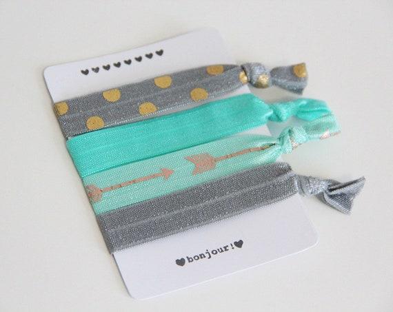 Set of 4 hair ties - elastics - no crease hair ties - stretch bracelets - gray - dots - gold - gray - aqua - arrows - gift - summer dK06