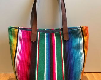 Mexican Beach Tote with Leather Straps