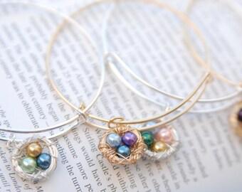 Wire Wrapped Nest - Pearl Wire Nest - Bird Nest Jewelry - Birthstone Jewelry - New Mom Gift - Push Present - Wire Wrapped Jewelry - Bracelet
