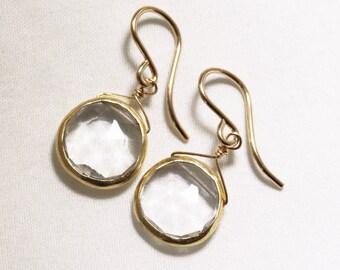 Clear Quartz Earrings Quartz Earrings Real Quartz Jewelry Semiprecious Quartz Earring April Birthstone 18k Gold Bezel BZ-E-105-Qtz/g