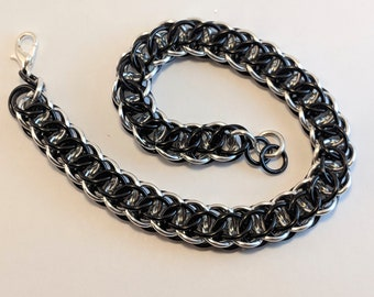 Chainmail Flat Full Persian Bracelet - Black and Silver, Chain Mail, Chainmaille, Chain Maille
