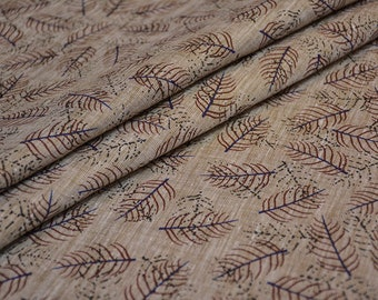Brown Leaf Fine Linen Fabric By The Yard
