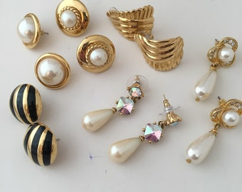 6 Pairs Post Pierced Earrings Gold Tone All Beautiful All included