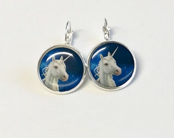 Blue Unicorn cabochon earrings