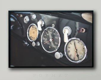 WALL ART PRINT, Sports Car, Race Car, Dashboard, Vintage Car, Classic Car, Racing Dial, Gift for Men, Guy Gift, Retro, Mid Century, Modern