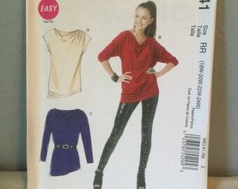 McCalls Sewing Pattern M6241 Misses Tunics Size RR 18W 20W 22W 24W
