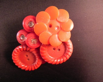 Handcrafted Button Brooch Created With Vintage Red Buttons