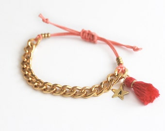 Pink personalized bracelet, initial bracelet with chain and tassel, hand stamped initial star charm, gift for teen girls
