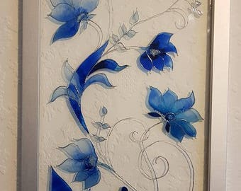 Blue Flowers Glass Painting/Glass Art/ Hanging Art/ Framed Art/ Framed Painting/ Colourful Painting