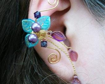 Aqua Purple Ear Climber Ear Cuff, No Piercing, Non Pierced, Beach Wedding Jewelry, Gift Idea, Boho, Ear Vine, Ear Jacket, Elven Ear Wrap