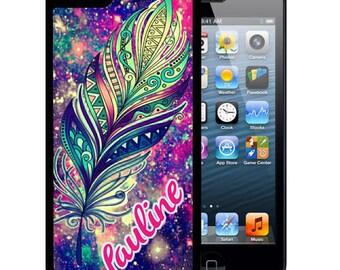 Personalized Rubber Case For iPhone X, 8, 8 plus, 7, 7 plus, 6s, 6s plus, 5, 5s, 5c, SE - Aztec Feather Space