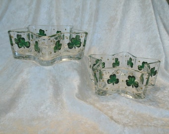 SHAMROCK CANDY DISHES, star shaped, set of two