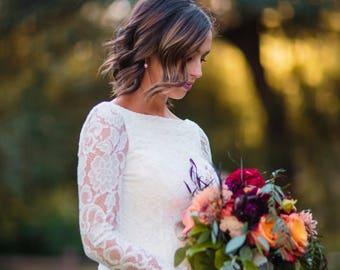 long sleeve wedding dress/long sleeve lace wedding dress/bohemian wedding dress simple/simple wedding dress/wedding gown/lace wedding dress