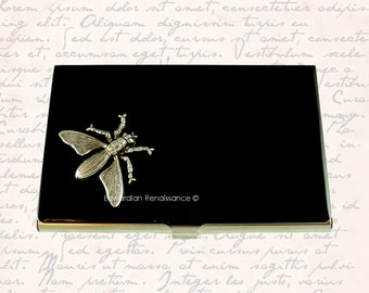 Bee Metal Business Card Case Inlaid in Hand Painted Enamel Neo Victorian Silver Yellow Jacket Custom Colors and Personalized Options