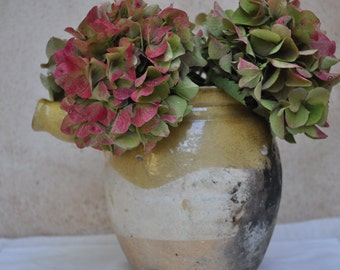 Antique French Confit Pot - Semi Glazed Earthenware Cooking Vessel with Handle