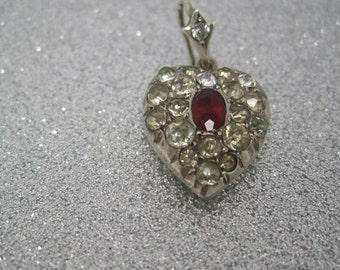 Victorian silver paste heart pendant