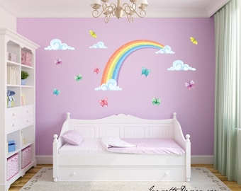 High Quality Girls Wall Decals,Rainbow And Butterflies Fabric Wall Decal Stickers,  Rainbow Wall Art,
