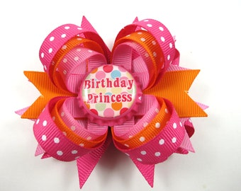 Birthday Hair Bow - Princess Brithday Hair Bow - 1st 2nd 3rd 4th 5th Birthday Hair Bow - Polka Dot Hair Bow - Orange Pink Hair Bow