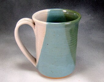Large Coffee Mug 16 Ounce Green Blue and White Ceramic Mug Coffee Cup Hand Thrown Stoneware Pottery Mug