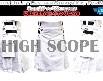 Utility White Leather Straps Kilt For Men Size 28 to 50 inches Fastest delivery in 5 to 7 days