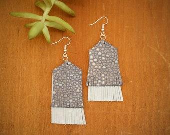 Periwinkle and Grey Fringe Earrings