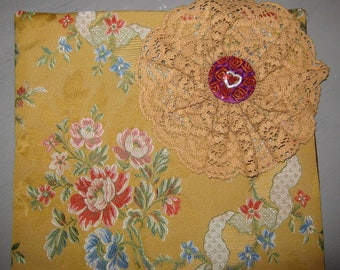 Lace flower and rosette pillow cover